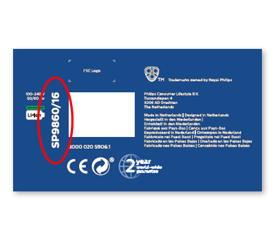 Where to find the model number of S9000 Prestige on the packaging